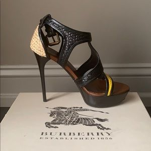 Burberry Raffia Striped Heels